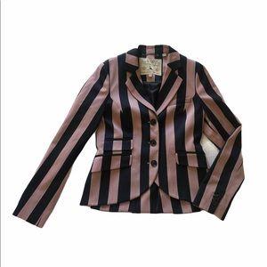 Jack Wills Pink & Blue Striped Fitted Blazer